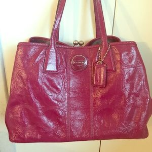 Raspberry Pink Patent Leather Coach Purse